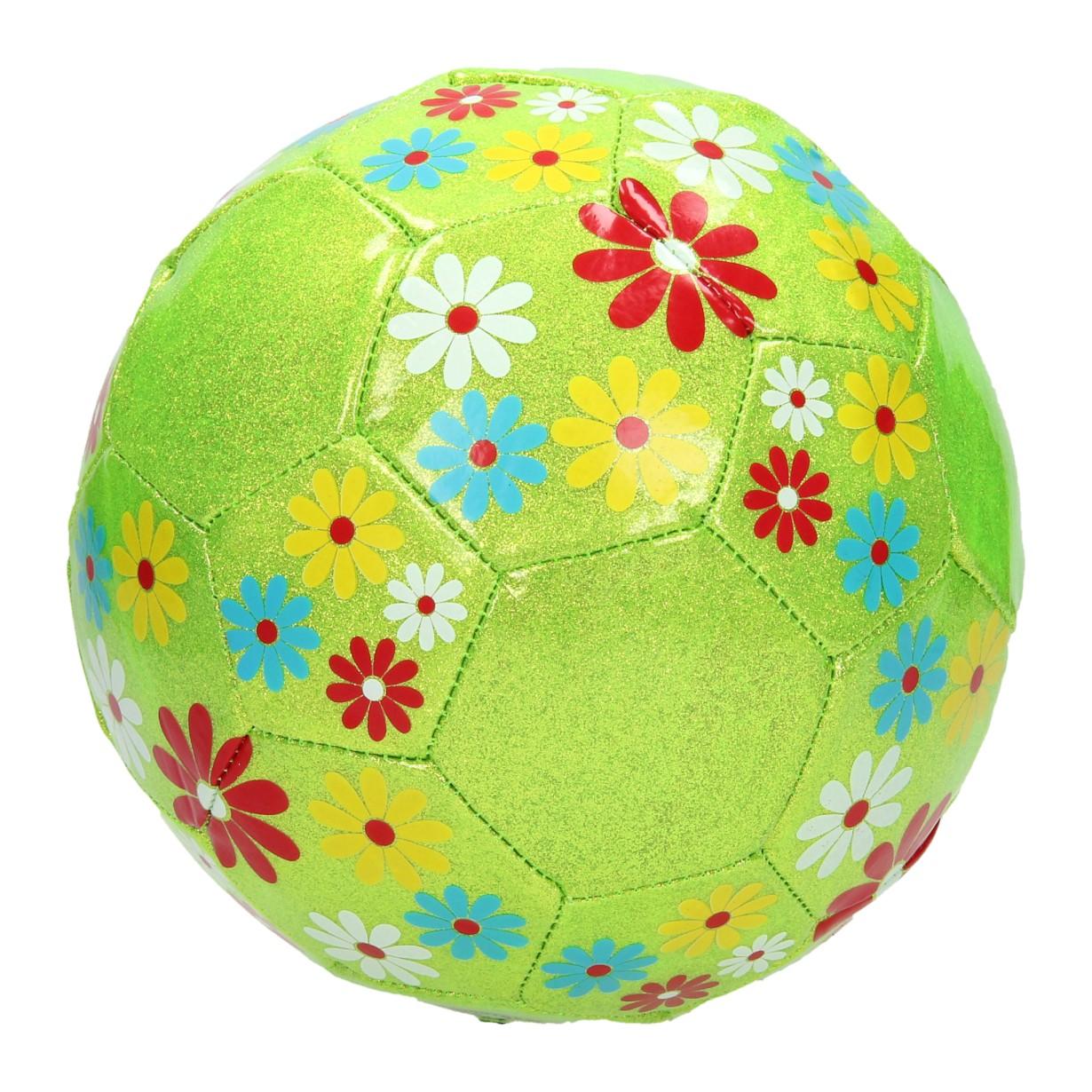 Image of   Grøn glitter fodbold med blomster - Ø, 20 cm