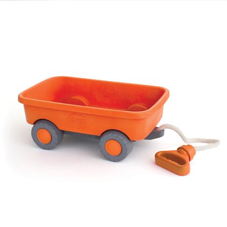 Image of   Green Toys - Orange Trækvogn lavet af 100% genbrugsplastik