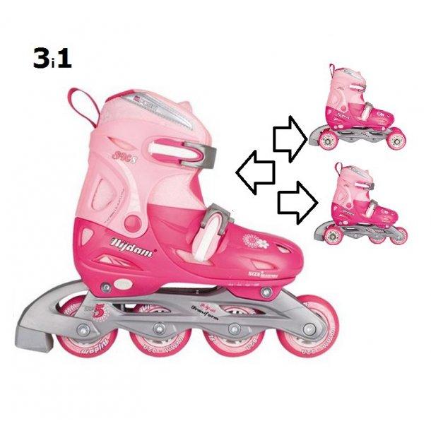 Nijdam 3 i 1 Rulleskøjte str. 34-37 - Pink & Lyserød
