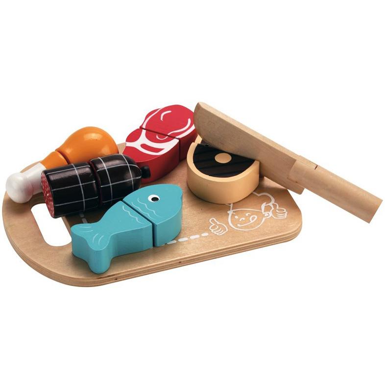 Skærebræt med Kød - Legemad fra MaMaMeMo - Indeleg - Kvalitets legetøj fra Maxileg
