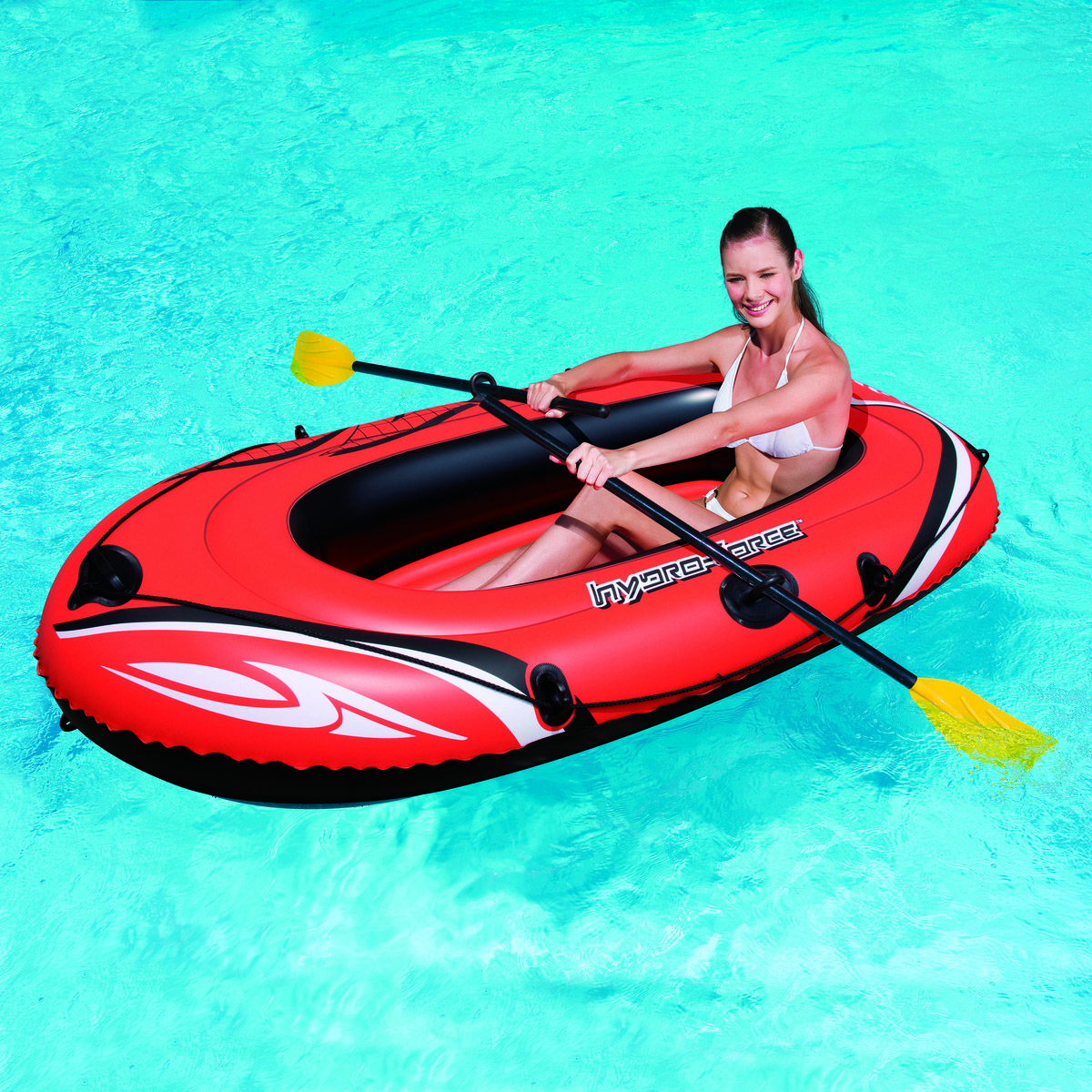 Image of   Bestway Gummibåd med årer og pumpe - Perfekt til leg ved vandet