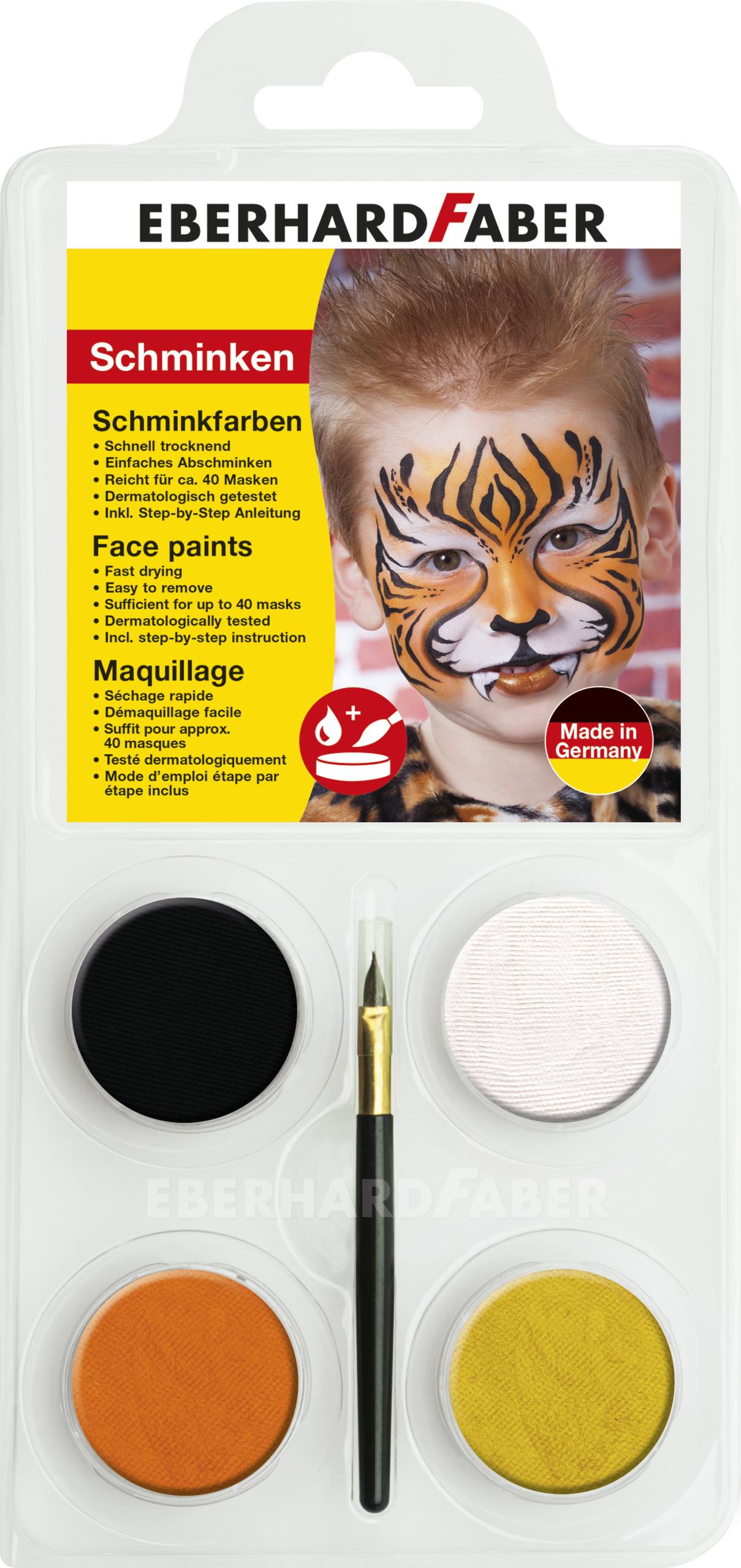 Fabriksnye Eberhard Faber Ansigtsmaling - Tiger Pakken med 4 farver og pensel XR-67