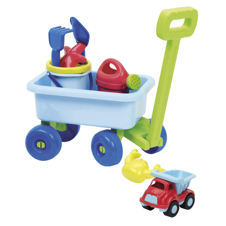 Billede af Lyseblå trækvogn med Sandsæt - Perfekt til udendørs leg og strandturen