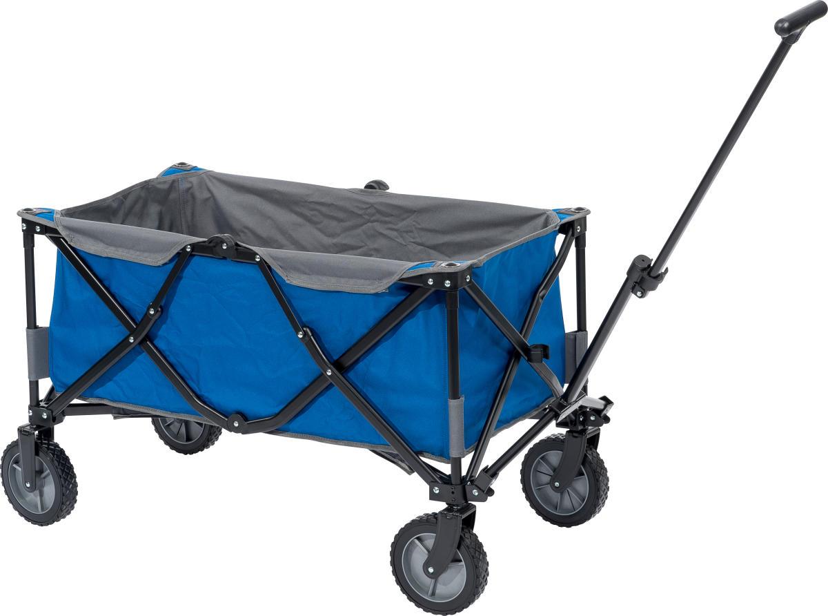 Image of   Blå foldbar trækvogn - Max. belastning på 100 kg