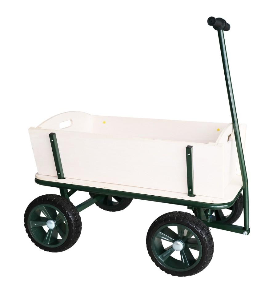 Image of   Trækvogn i træ med punkterfri hjul og plads til 4 børn