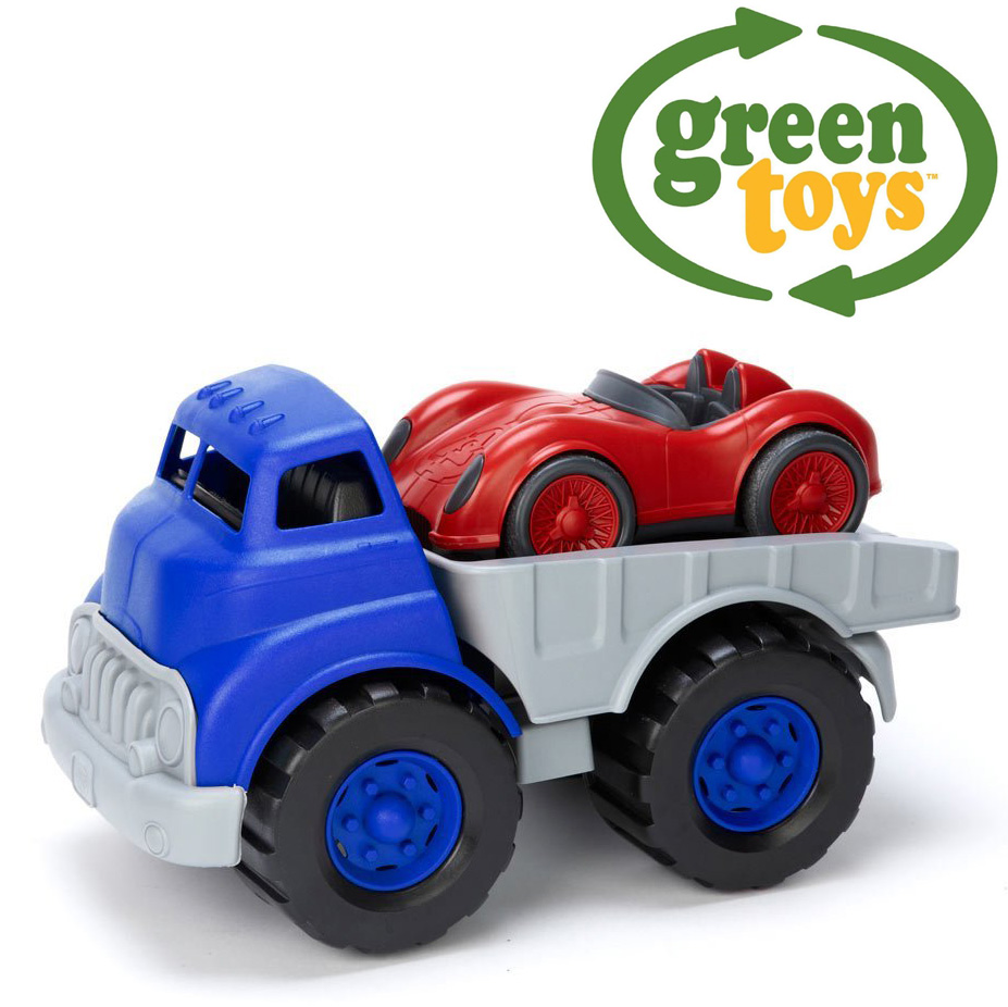 Green Toys Race Car : Green toys flatbed truck with race car lavet af