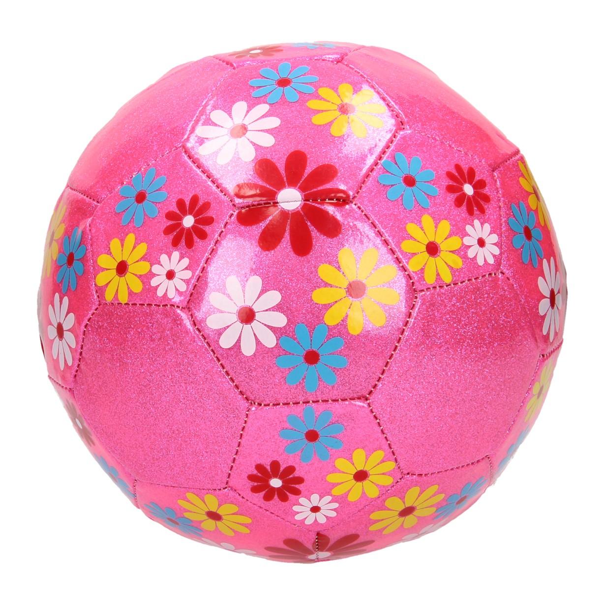 Image of   Lyserød glimmer fodbold med blomster - Ø20 cm
