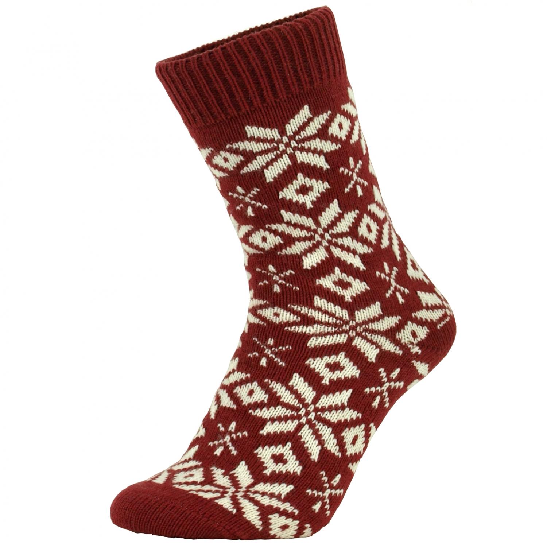 f68d32974ac Norske uld sokker med snefnug rød - UldSokker - NorStrik ( MaxiLegetoj.dk )