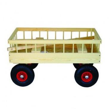 Image of   Stor Trækvogn i træ med lufthjul og plads til 4 børn