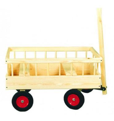 Billede af Trækvogn i træ med massive hjul og plads til 2 børn