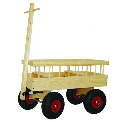 Image of   Trækvogn i træ med lufthjul og plads til 2 børn