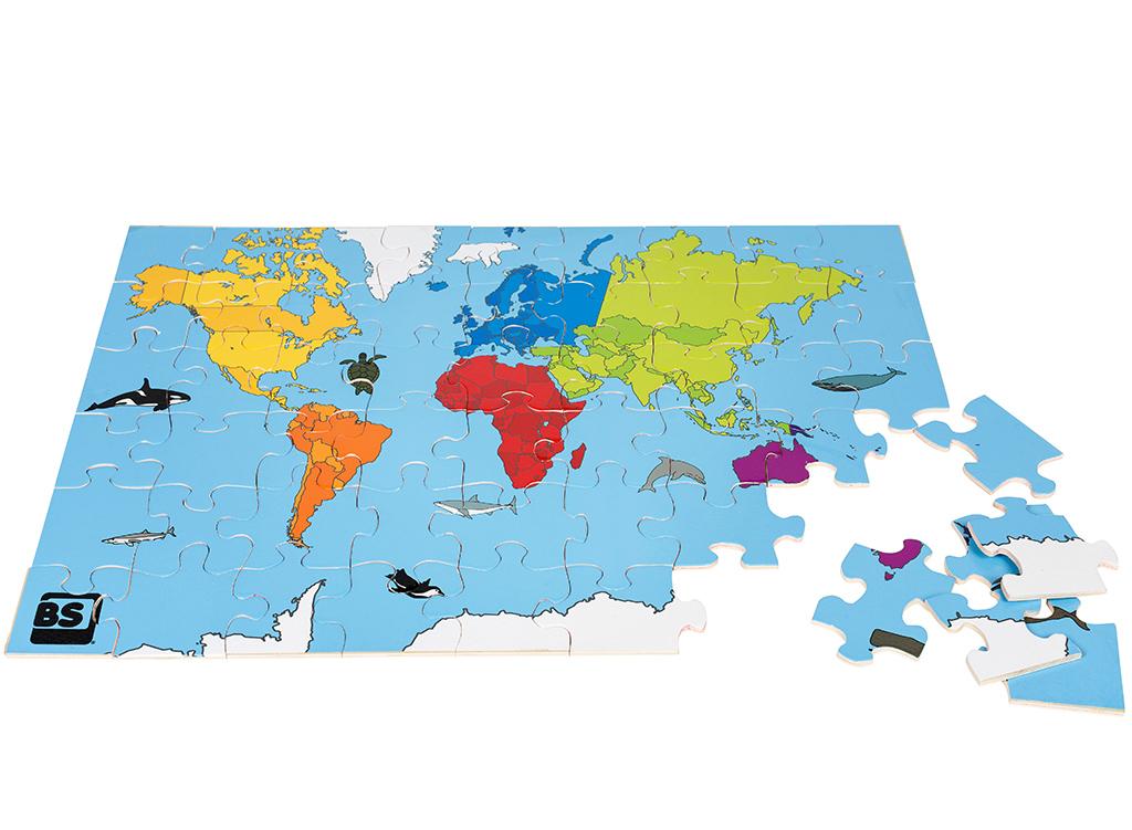 Image of   Stort træpuslespil med motiv som verdenskort - Fra BS